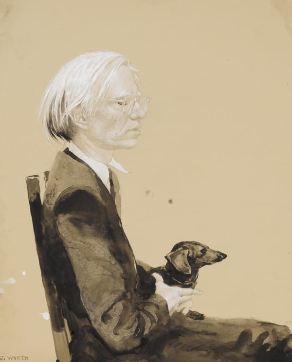 Jamie Wyeth-Andy Warhol Sitting with Archie (No. 9), 1976
